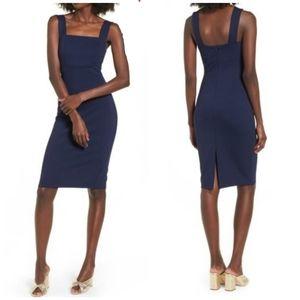 Soprano Square Neck Bodycon Midi Dress